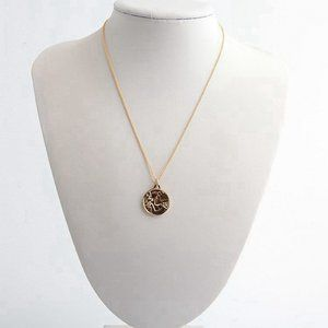 Tory Burch Gold Josephine Dove Bird Coin Pendant